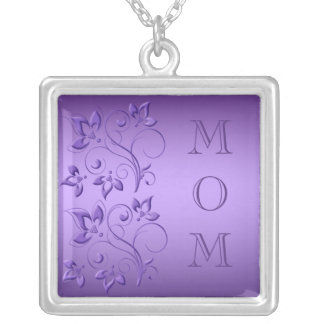 "Silver and Purple Floral ""Mom"" Necklace"