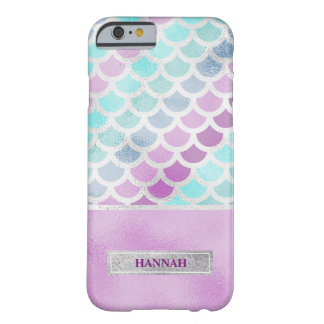Silver and Purple Mermaid, Customized Barely There iPhone 6 Case
