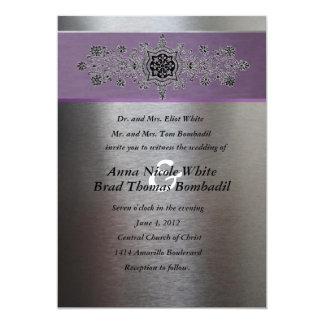 Silver and Purple Metallic Wedding Invitation