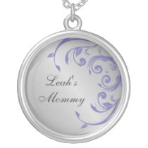 Silver and Purple Mommy Necklace