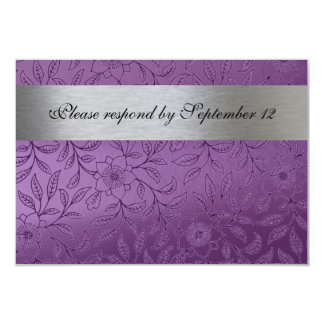 Silver and Purple rsvp with envelope 3.5x5 Paper Invitation Card