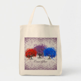 Silver and Purple Swirly Romantic Heart Leaf Tree Tote Bag