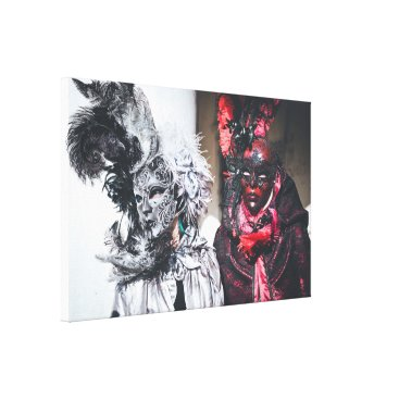Art Themed Silver and red carnival masks in Venice(Italy) Canvas Print