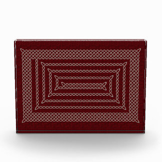Silver And Red Celtic Rectangular Spiral Award