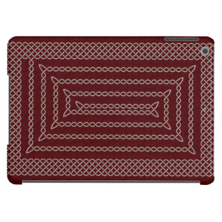 Silver And Red Celtic Rectangular Spiral Cover For iPad Air