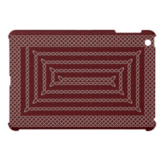 Silver And Red Celtic Rectangular Spiral iPad Mini Case
