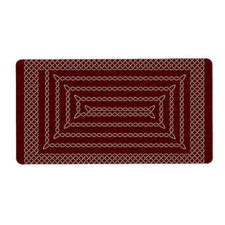 Silver And Red Celtic Rectangular Spiral Label