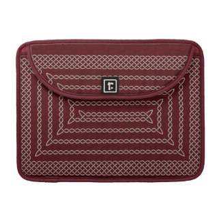 Silver And Red Celtic Rectangular Spiral Sleeve For MacBook Pro