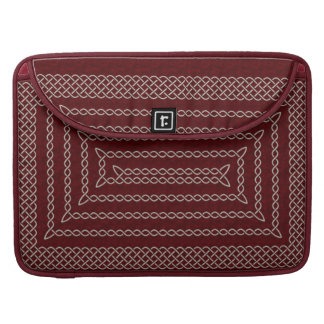 Silver And Red Celtic Rectangular Spiral Sleeve For MacBooks