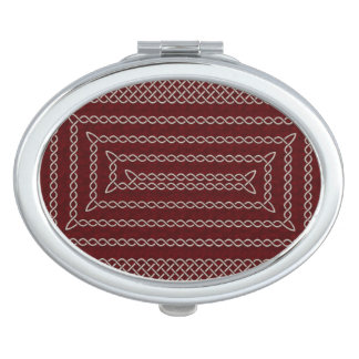 Silver And Red Celtic Rectangular Spiral Makeup Mirror