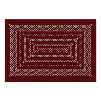 Silver And Red Celtic Rectangular Spiral Photo Print
