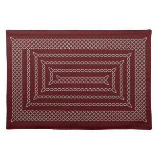Silver And Red Celtic Rectangular Spiral Placemats