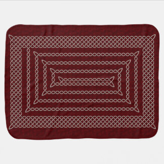 Silver And Red Celtic Rectangular Spiral Receiving Blankets