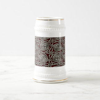 Silver And Red Celtic Spiral Knots Pattern Beer Stein