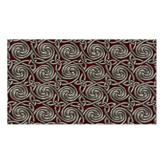 Silver And Red Celtic Spiral Knots Pattern Business Card