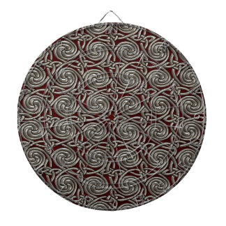 Silver And Red Celtic Spiral Knots Pattern Dartboards