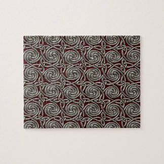 Silver And Red Celtic Spiral Knots Pattern Jigsaw Puzzle