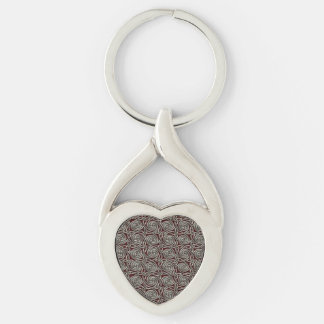 Silver And Red Celtic Spiral Knots Pattern Keychain