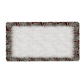 Silver And Red Celtic Spiral Knots Pattern Label
