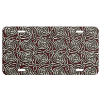 Silver And Red Celtic Spiral Knots Pattern License Plate