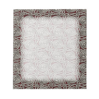 Silver And Red Celtic Spiral Knots Pattern Notepad