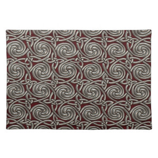 Silver And Red Celtic Spiral Knots Pattern Place Mat