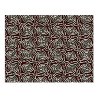 Silver And Red Celtic Spiral Knots Pattern Postcard