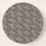 "Silver And Red Celtic Spiral Knots Pattern Sandstone Coaster<br><div class=""desc"">A pattern of silver spiral Celtic style knots on a deep crimson red background. The knots intertwine in an endless pattern design.</div>"