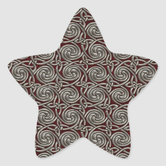 Silver And Red Celtic Spiral Knots Pattern Star Stickers