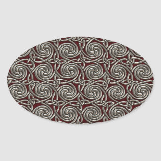 Silver And Red Celtic Spiral Knots Pattern Sticker