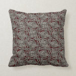 Silver And Red Celtic Spiral Knots Pattern Throw Pillow