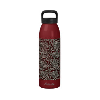 Silver And Red Celtic Spiral Knots Pattern Water Bottles