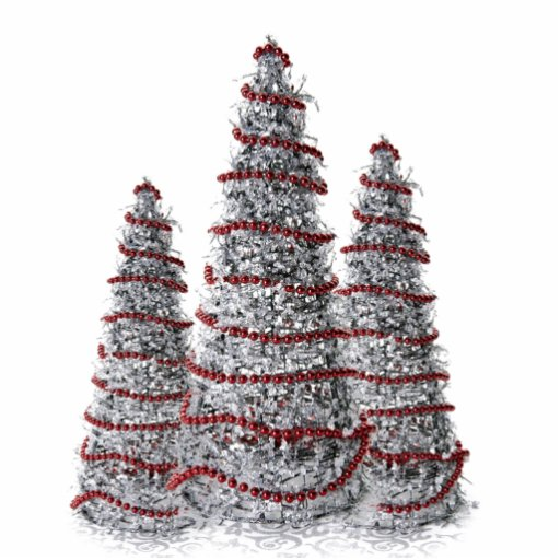 Silver And Red Christmas Tree Holiday Ornaments Photo