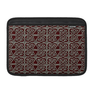 Silver And Red Connected Ovals Celtic Pattern MacBook Sleeves