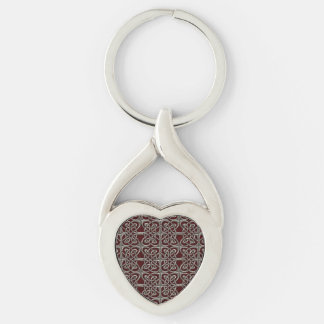 Silver And Red Connected Ovals Celtic Pattern Keychain
