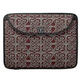 Silver And Red Connected Ovals Celtic Pattern MacBook Pro Sleeve