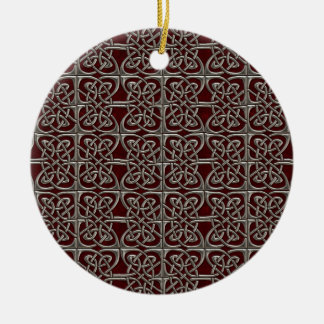 Silver And Red Connected Ovals Celtic Pattern Ornaments
