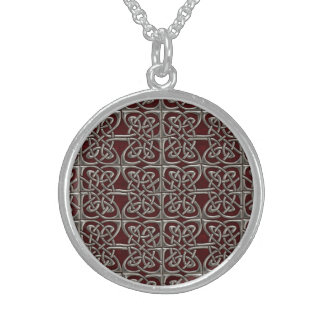 Silver And Red Connected Ovals Celtic Pattern Round Pendant Necklace