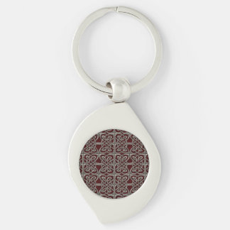 Silver And Red Connected Ovals Celtic Pattern Silver-Colored Swirl Metal Keychain