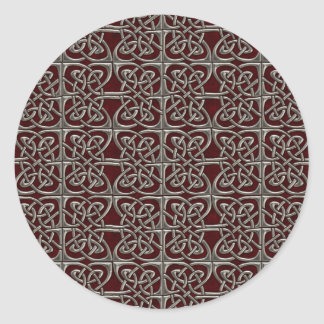 Silver And Red Connected Ovals Celtic Pattern Round Sticker
