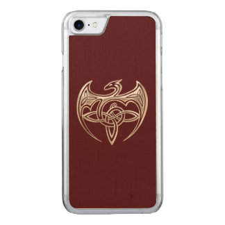 Silver And Red Dragon Trine Celtic Knots Art Carved iPhone 7 Case