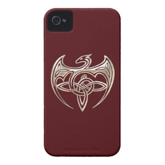 Silver And Red Dragon Trine Celtic Knots Art iPhone 4 Case-Mate Case