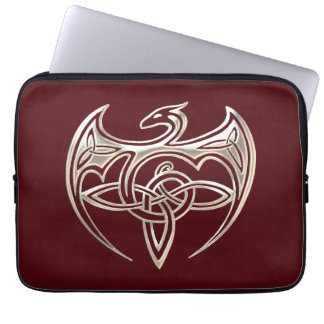 Silver And Red Dragon Trine Celtic Knots Art Computer Sleeve