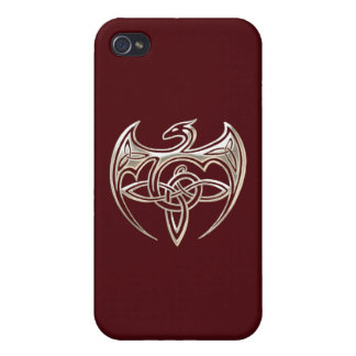 Silver And Red Dragon Trine Celtic Knots Art iPhone 4/4S Cases