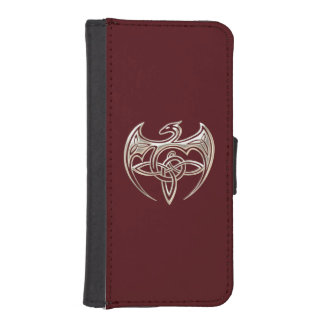 Silver And Red Dragon Trine Celtic Knots Art iPhone SE/5/5s Wallet
