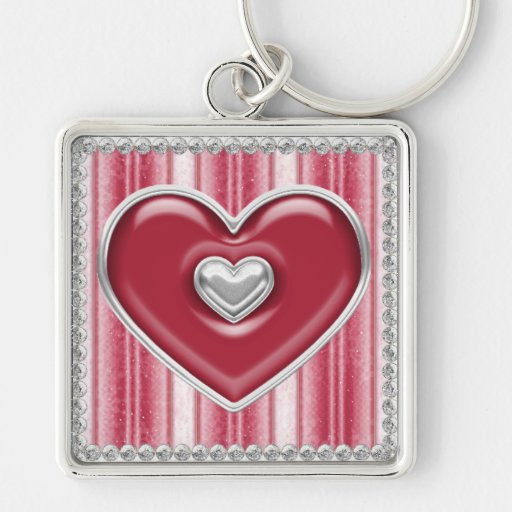 Silver and Red Filled Hearts Customizable Keychain