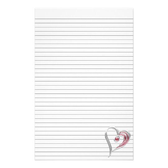 Silver and Red Heart Stationery w/ optional lines