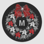 Silver and Red Holiday Wreath with Monogram Classic Round Sticker