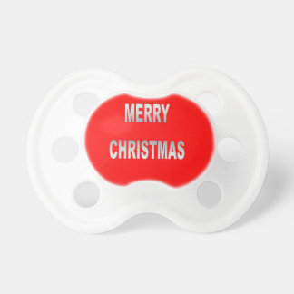 Silver And Red Merry Christmas Baby Pacifier