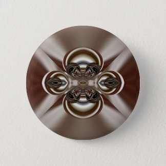 silver and red pattern pinback button